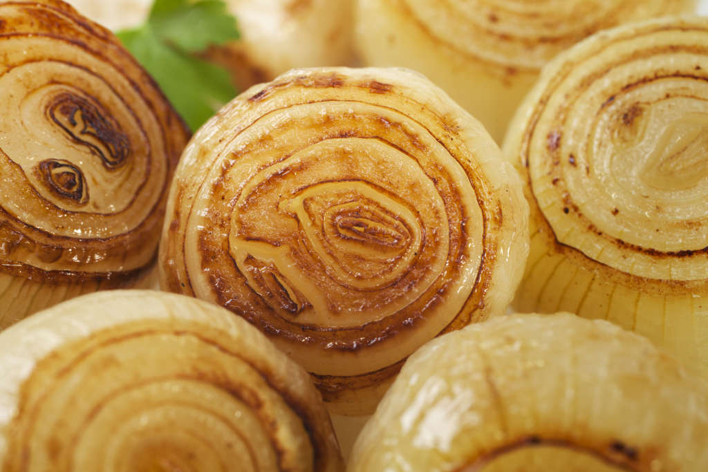Close up of roasted onions.